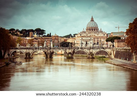 View of Saint Peter cathedral and bridge Saint Angel, Rome, Italy