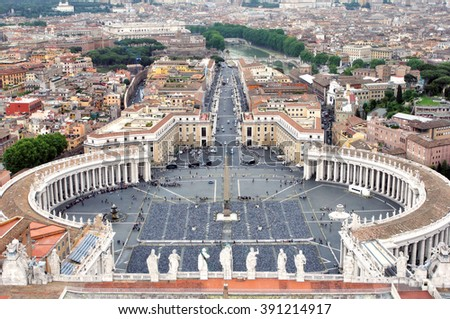 View of Saint Peter's Square, Vatican City, Rome, Italy