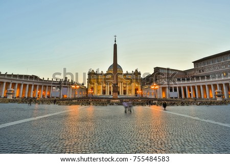 View of Saint Peters Square in front of the Saint Peter's Basilica in Vatican, Rome.