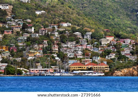 View of Saint Thomas hillside, United States virgin Islands