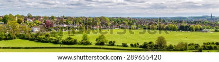 View of Salisbury from Old Sarum - England - stock photo