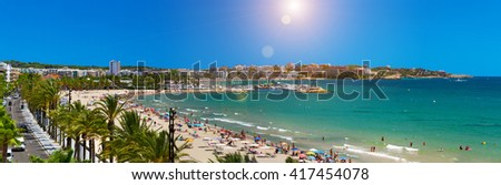View of Salou Platja Llarga Beach in Spain from the last floor of a coast building - stock photo