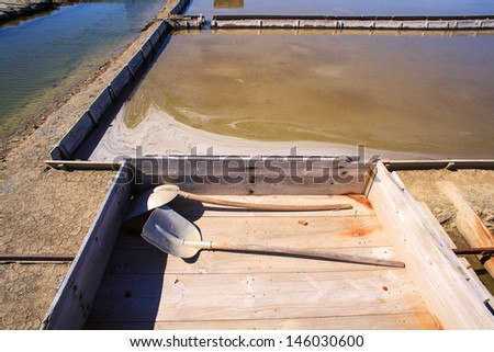 View of Salt evaporation ponds in Secovlje, Slovenia