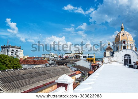 View of San Claver Church and center of Cartagena, Colombia from a rooftop - stock photo