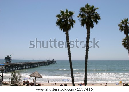 view of San Clemente Pier and Beach in Southern California, - stock photo