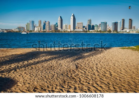 View of San Diego skyline from Coronado island
