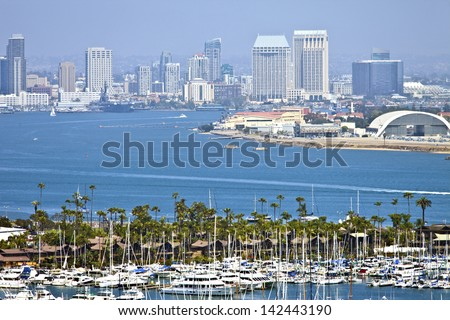 View of San Diego skyline hazy atmosphere from Point Loma Island California. - stock photo