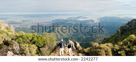 View of San Francisco bay from Mt. Tamalpais - stock photo