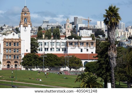 View of San Francisco buildings in city center - stock photo