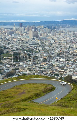 View of San Francisco from the twin Peaks, California, Usa - stock photo