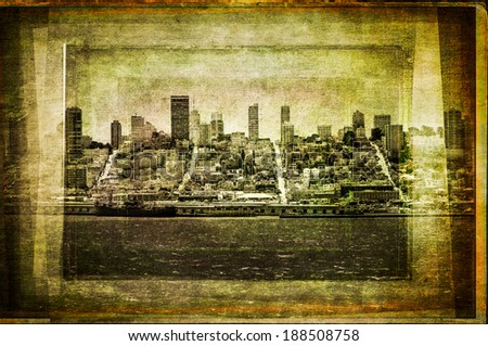 View of San Francisco skyline in vintage filtered textured style, USA - stock photo