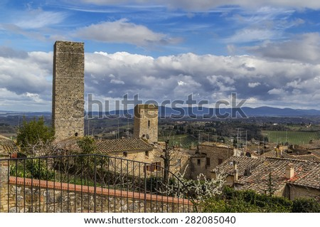 view of San Gimignano with surroundings, Italy