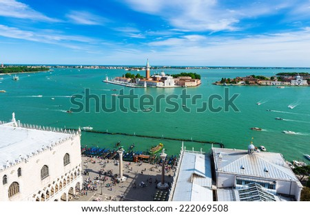 View of San Giorgio island, Grand canal, Piazza San Marco in Venice. Italy - stock photo