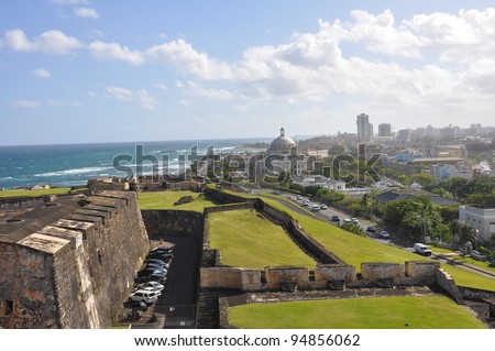 View of San Juan from Castillo de San Cristobal in Puerto Rico - stock photo