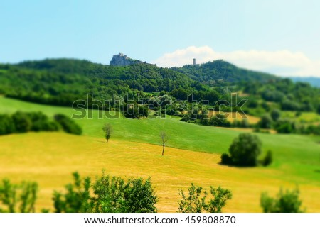 View of San Leo, Italy. Tilt-shift effect applied.