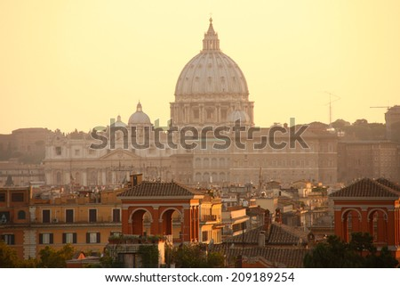 view of San Peter basilica, Rome, Italy - stock photo