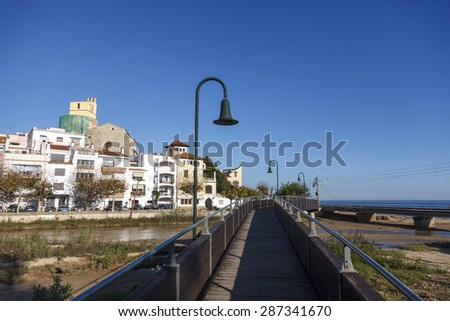 View of San Pol de Mar in the coast of Catalonia, Spain - stock photo