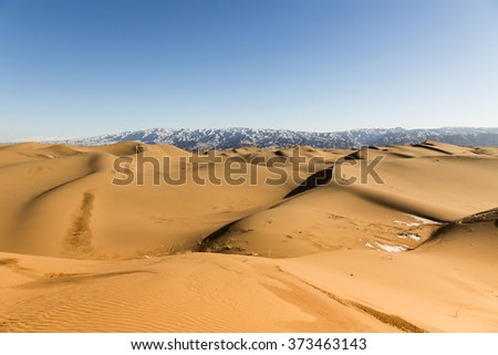 View of sand dunes in Shapotou National Park - Ningxia, China.
