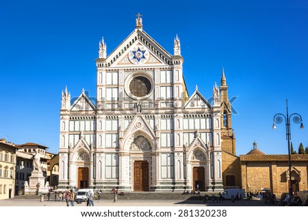 View of Santa Croce cathedral. Florence, Italy - stock photo