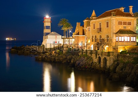 View of Santa Marta lighthouse and Municipal museum of Cascais, in Portugal. - stock photo