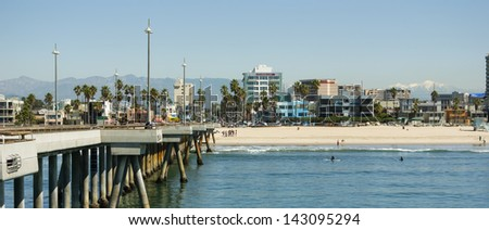 View of Santa Monica and Hollywood Hills from Pier - stock photo