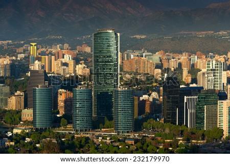 View of Santiago de Chile with Titanium La Portada skyscraper - stock photo
