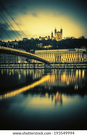 View of Saone river at Lyon by night, France, special photographic processing  - stock photo