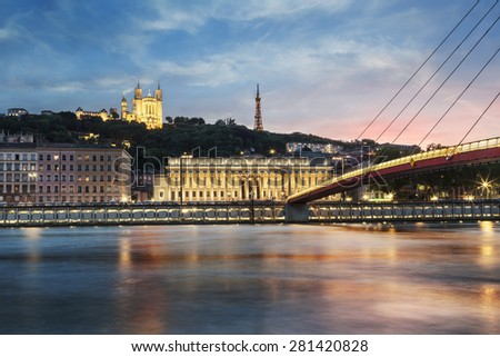 View of Saone river at sunset in Lyon city, France - stock photo