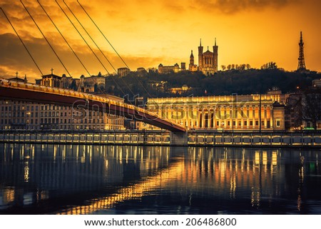 View of Saone river at sunset,Lyon, France. - stock photo