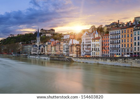 View of Saone river in Lyon city at sunset, France  - stock photo
