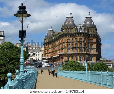 View of Scarborough showing historic Grand hotel. Photo taken from Spa bridge. - stock photo