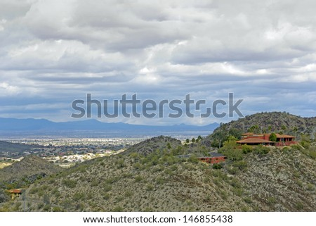 View of Scottsdale from North Mountain park, Arizona - stock photo