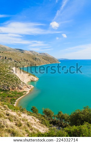 View of sea bay from coastal road near Lixouri town, Kefalonia island, Greece