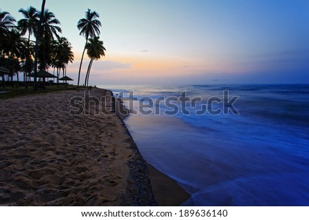 View of sea in Cape Coast in the morning, Ghana, West Africa - stock photo