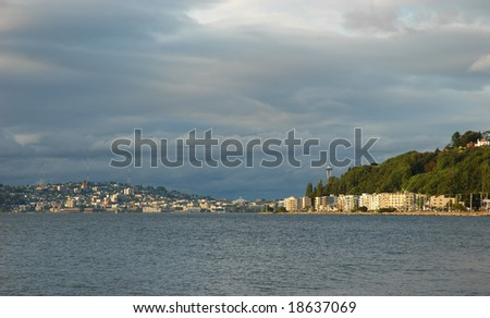 View of Seattle and Alki beach waterfront. - stock photo