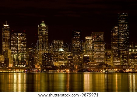 View of Seattle at night - stock photo