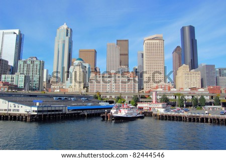 View of Seattle Financial District and Waterfront