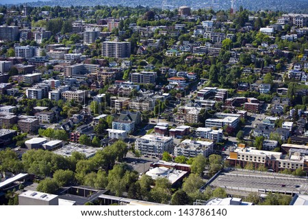 View of Seattle from Space Needle - stock photo