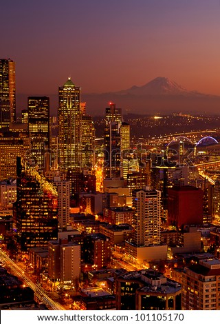 View of Seattle with Mt. Rainier in background. - stock photo