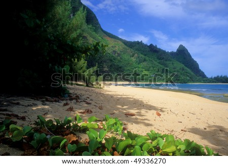View of secluded Tunnels Beach on the north shore of Kauai, Hawaii. - stock photo