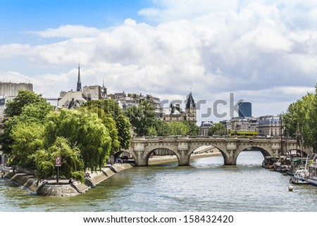 View of Seine River and Cite Island�. Paris, France, Europe - stock photo