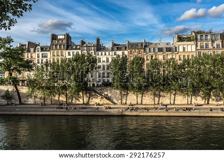 View of Seine River and famous Cite Island at Sunset. Paris, France, Europe.