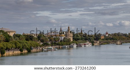 View of Seville with Torre del Oro of the bottom