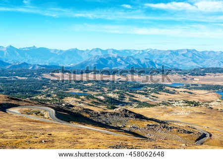 View of Shoshone National Forest in the Beartooth Mountains in Montana and Wyoming - stock photo