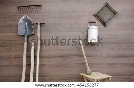 View of shovels and gardening tools