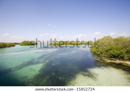 View of Sian Ka'an wiliderness area - Yucatan Mexico - stock photo