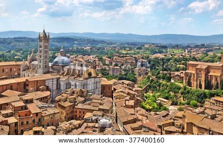 View of Siena town with Basilica Cateriniana di San Domenico.Tuscany, Italy. - stock photo