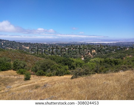 View of Silicon Valley from vista point at Edgewood Park in Redwood City, CA