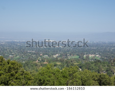 View of Silicon Valley from vista point at San Antonio Open Space Preserve. - stock photo
