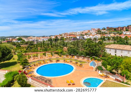 View of Silves town and swimming pool complex in Algarve region, Portugal